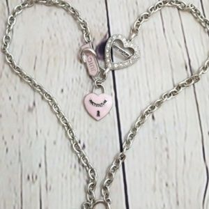 Juicy Couture Pink Heart Chain Necklace